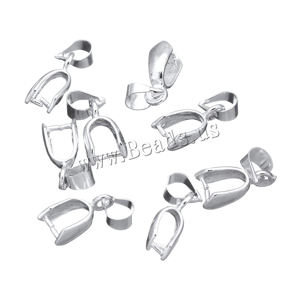 Buy Brass Pinch Bail silver color plated nickel lead & cadmium free 4x12x5mm 0.8mm Hole:Approx 3.8x4.3mm 5 Sold Lot