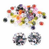 Kubischer Zirkonia Kabochons, rund, verschiedene Größen vorhanden & Rivoli-Rückseite, gemischte Farben, verkauft von Menge