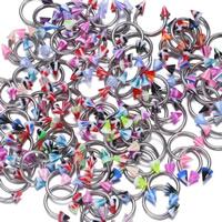 Edelstahl Zungenring, 316 L Edelstahl, mit Acryl, unisex, gemischte Farben, 9x1mm,4mm, 20PCs/Menge, verkauft von Menge