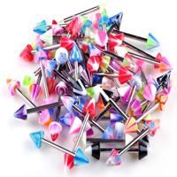316 L Edelstahl Brustpiercings, mit Acryl, unisex, gemischte Farben, 12mm,4x4mm, 20PCs/Menge, verkauft von Menge