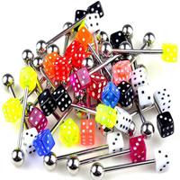 Edelstahl Zungenring, 316 L Edelstahl, mit Acryl, unisex, gemischte Farben, 28x1.5mm,5mm, 20PCs/Menge, verkauft von Menge