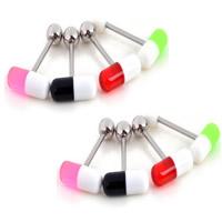 Edelstahl Zungenring, 316 L Edelstahl, mit Acryl, gemischte Farben, 27x1.6mm, 6mm, 20PCs/Menge, verkauft von Menge