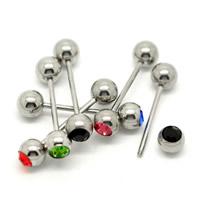 Edelstahl Zungenring, 316 L Edelstahl, mit Strass, gemischte Farben, 19mm, 6mm, 5mm, 20PCs/Menge, verkauft von Menge
