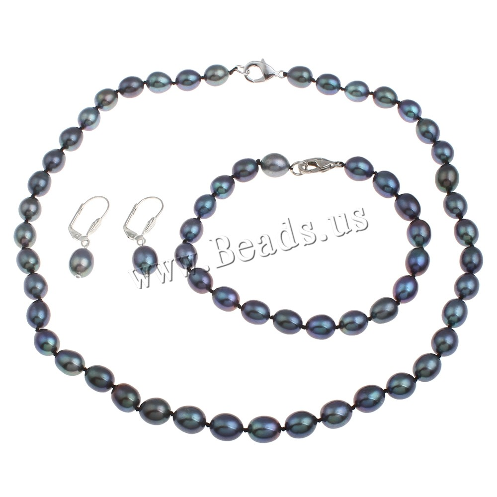 Buy Natural Cultured Freshwater Pearl Jewelry Sets bracelet & earring & necklace Freshwater Pearl brass clasp iron earring lever back clip Rice different styles choice light blue 8-9mm Length:Approx 17 Inch Approx 7.5 Inch Sold Set