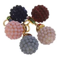 ABS Kunststoff -Anhänger, ABS-Kunststoff-Perlen, mit OPP & Messing, rund, goldfarben plattiert, gummierte & mit Strass, keine, 14x22mm, Bohrung:ca. 4mm, 12PCs/Tasche, verkauft von Tasche