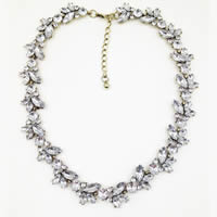 Acryl Halskette, Zinklegierung, mit Acryl, mit Verlängerungskettchen von 1lnch, antike Goldfarbe plattiert, für Frau & mit Strass, frei von Nickel, Blei & Kadmium, verkauft per ca. 17 ZollInch Strang
