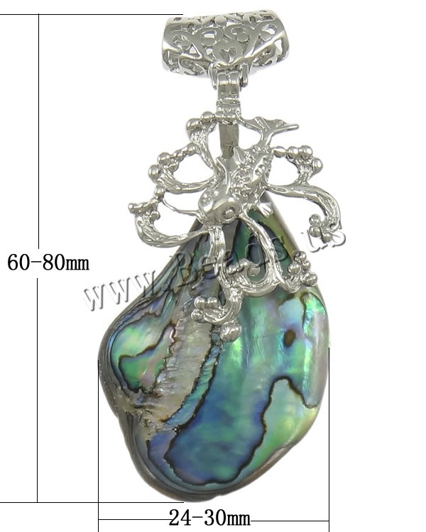 Buy Natural Abalone Shell Pendants Brass platinum color plated nickel lead & cadmium free 24-30x60-80x13mm Hole:Approx 5x6mm 1 Sold Lot