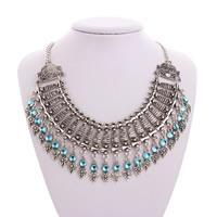 Acryl Halskette, Zinklegierung, mit Acryl, mit Verlängerungskettchen von 2.8lnch, antik silberfarben plattiert, Twist oval & für Frau, frei von Nickel, Blei & Kadmium, verkauft per ca. 19.5 ZollInch Strang