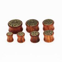 Padauk Piercing Durchstich, mit Zinklegierung, Rondell, goldfarben plattiert, verschiedene Größen vorhanden, 2PCs/Tasche, verkauft von Tasche