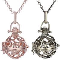 Messing Schwangere Harmonie-Kugel-Strickjacke-Halskette, plattiert, Rolo Kette & hohl, keine, frei von Nickel, Blei & Kadmium, 21x28mm, verkauft per ca. 31 ZollInch Strang