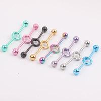 Edelstahl Zungenring, plattiert, gemischte Farben, 1.60x38x5.50mm, 2PCs/Tasche, verkauft von Tasche
