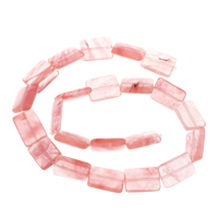 Wassermelone Glasperlen, Rechteck, natürlich, 13x18x6mm, Bohrung:ca. 1.5mm, ca. 22PCs/Strang, verkauft per ca. 15.7 ZollInch Strang