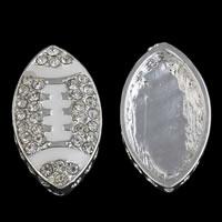 Strass Zinklegierung Perlen, Pferdeauge, silberfarben plattiert, Emaille & mit Strass, frei von Blei & Kadmium, 15x25x5mm, Bohrung:ca. 1mm, verkauft von PC