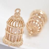 24K Gold Anhänger, Messing, mit kubischer Zirkonia, Käfig, 24 K vergoldet, hohl, frei von Blei & Kadmium, 12x21mm, Bohrung:ca. 1-2mm, 20PCs/Tasche, verkauft von Tasche