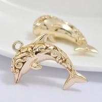 24K Gold Anhänger, Messing, Dolphin, 24 K vergoldet, hohl, frei von Blei & Kadmium, 30x20mm, Bohrung:ca. 1-2mm, 20PCs/Tasche, verkauft von Tasche
