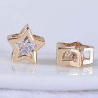 24K Gold Perlen, Messing, Stern, 24 K vergoldet, mit kubischem Zirkonia & facettierte, frei von Blei & Kadmium, 9x9x4.50mm, Bohrung:ca. 3-5mm, 20PCs/Tasche, verkauft von Tasche