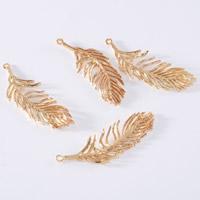 24K Gold Anhänger, Messing, Blatt, 24 K vergoldet, frei von Blei & Kadmium, 13x39mm, Bohrung:ca. 1-2mm, 20PCs/Tasche, verkauft von Tasche