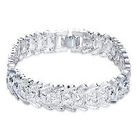comeon® Schmuck Armband, Messing, versilbert, Blume Schnitt & für Frau, frei von Nickel, Blei & Kadmium, verkauft per ca. 7.8 ZollInch Strang