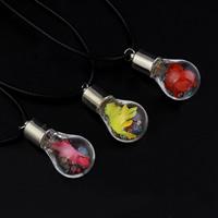 Glassturz Halskette, Glas, mit Seidenspinnerei & PU Leder & Strass, Zinklegierung Karabinerverschluss, keine, 17x35mm, verkauft per ca. 17 ZollInch Strang