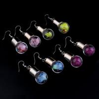 Glassturz Ohrringe, Glas, mit Seidenspinnerei & Strass & Verkupferter Kunststoff, Eisen Haken, plattiert, keine, 16x46mm, verkauft von Paar
