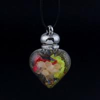 Glas Halskette, mit Seidenspinnerei & PU Leder & Strass, Zinklegierung Karabinerverschluss, Herz, Kugelkette & buntes Pulver, 32x49x16mm, verkauft per ca. 17 ZollInch Strang