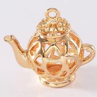 24K Gold Anhänger, Messing, Teekanne, 24 K vergoldet, hohl, frei von Blei & Kadmium, 16.5x18mm, Bohrung:ca. 1-2mm, 20PCs/Tasche, verkauft von Tasche