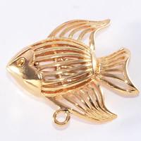 24K Gold Anhänger, Messing, Fisch, 24 K vergoldet, hohl, frei von Blei & Kadmium, 18x15mm, Bohrung:ca. 1-2mm, 20PCs/Tasche, verkauft von Tasche