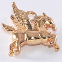 24K Gold Anhänger, Messing, Pferd, 24 K vergoldet, frei von Blei & Kadmium, 15.3x15.6mm, Bohrung:ca. 1-2mm, 20PCs/Tasche, verkauft von Tasche
