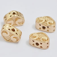 24K Gold Perlen, Messing, Herz, 24 K vergoldet, frei von Blei & Kadmium, 10x7x5mm, Bohrung:ca. 1-2mm, 20PCs/Tasche, verkauft von Tasche