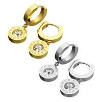 Huggie Hoop Drop Ohrringe, Edelstahl, flache Runde, plattiert, mit römischen Zahl & mit Strass, keine, 10x12.5x3.5mm, 26mm, verkauft von Paar