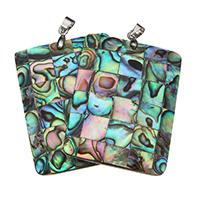 Seeohr Muschel Anhänger, mit Süßwassermuschel & Messing, Rechteck, Platinfarbe platiniert, Mosaik, 30.50x40.50x4mm, Bohrung:ca. 4x5mm, verkauft von PC