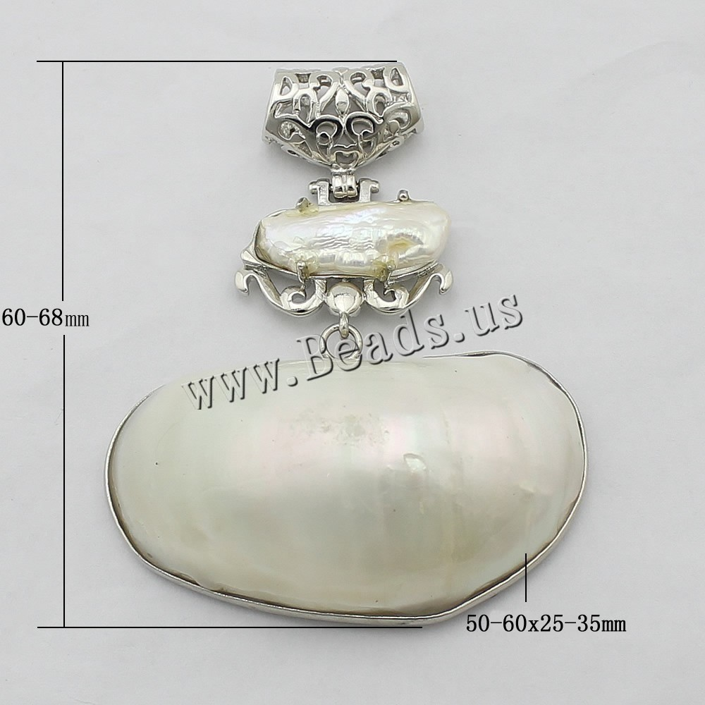 Buy Natural White Shell Pendants Brass White Shell platinum color plated nickel lead & cadmium free 60-68mm 50-60x25-35x16mm Hole:Approx 4x6mm 1 Sold Lot