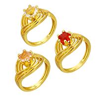 Kristall Fingerring, Messing, mit Kristall, goldfarben plattiert, für Frau & facettierte & hohl, keine, frei von Nickel, Blei & Kadmium, 12.50mm, Größe:7, verkauft von PC