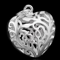 Messing Herz Anhänger, versilbert, hohl, frei von Blei & Kadmium, 26x27mm, Bohrung:ca. 3-5mm, 10PCs/Tasche, verkauft von Tasche