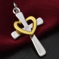 Messing Kreuz Anhänger, plattiert, zweifarbig, frei von Blei & Kadmium, 21x41mm, Bohrung:ca. 3-5mm, 10PCs/Tasche, verkauft von Tasche