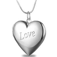 Messing Medaillon Anhänger, Herz, Wort Liebe, versilbert, frei von Blei & Kadmium, 29x28mm, Bohrung:ca. 3-5mm, 10PCs/Tasche, verkauft von Tasche