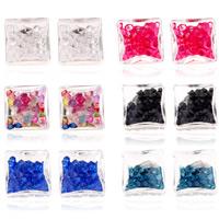 Glassturz Ohrringe, Kunststoff, mit Acryl Strass, Edelstahl Stecker, Rechteck, Platinfarbe platiniert, transparent, keine, 17x15mm, verkauft von Paar