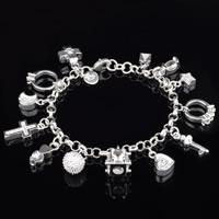 Zirkonia Armband, Messing, versilbert, Armband  Bettelarmband & mit kubischem Zirkonia, frei von Blei & Kadmium, 5mm, verkauft per ca. 8 ZollInch Strang
