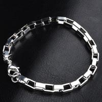 Messing Armband, versilbert, Rechteck-Kette, frei von Blei & Kadmium, 4mm, verkauft per ca. 8 ZollInch Strang