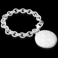 Messing Medaillon Armband, mit Verlängerungskettchen von 5cm, flache Runde, versilbert, Oval-Kette, frei von Blei & Kadmium, 32mm, verkauft per ca. 8 ZollInch Strang