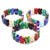 Murano Millefiori Lampwork Armband, für Frau, gemischte Farben, 12x17.50x5.50mm, Länge:ca. 7.5 ZollInch, 3SträngeStrang/Menge, verkauft von Menge