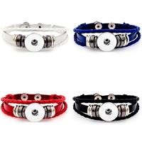 Snap-Knopf-Armband, Zinklegierung, mit PU Leder, plattiert, für Frau & 3-Strang, keine, frei von Blei & Kadmium, 18mm, Innendurchmesser:ca. 6mm, verkauft per ca. 7 ZollInch Strang
