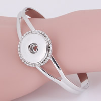 Snap-Knopf-Armband, Zinklegierung, Platinfarbe platiniert, für Frau, frei von Blei & Kadmium, 18mm, Innendurchmesser:ca. 6mm, verkauft per ca. 7 ZollInch Strang