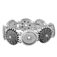 Snap-Knopf-Armband, Zinklegierung, metallschwarz plattiert, für Frau & mit Strass, frei von Blei & Kadmium, 18mm, Innendurchmesser:ca. 6mm, verkauft per ca. 7 ZollInch Strang