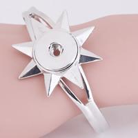 Snap-Knopf-Armband, Zinklegierung, Blume, Platinfarbe platiniert, für Frau, frei von Blei & Kadmium, 18mm, Innendurchmesser:ca. 6mm, verkauft per ca. 7 ZollInch Strang