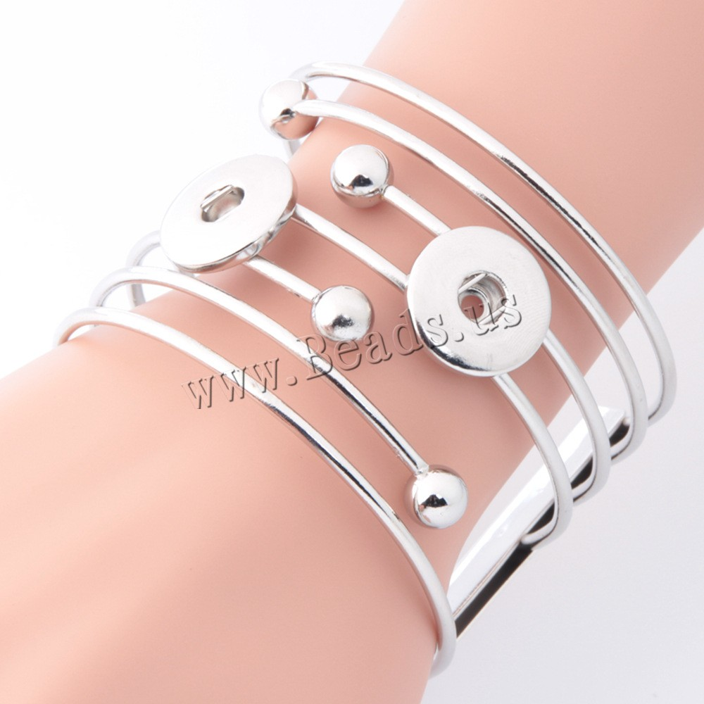 Buy Snap Button Bracelet Zinc Alloy platinum color plated woman & multi-strand lead & cadmium free 18mm Inner Diameter:Approx 6mm Sold Per Approx 7 Inch Strand