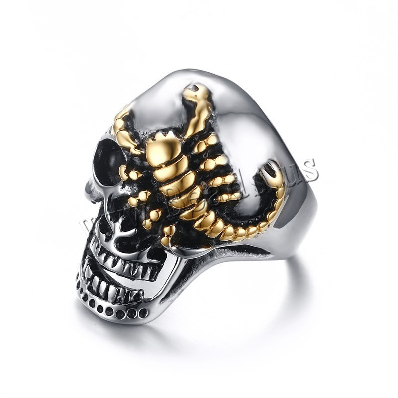 Buy Men Finger Ring Stainless Steel Skull plated different size choice & man 30mm Sold PC