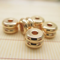 24K Gold Perlen, Messing, 24 K vergoldet, frei von Blei & Kadmium, 6x4mm, Bohrung:ca. 1-2mm, 10PCs/Tasche, verkauft von Tasche