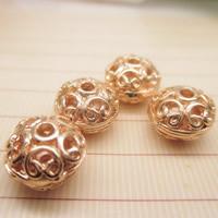24K Gold Perlen, Messing, flache Runde, 24 K vergoldet, hohl, frei von Blei & Kadmium, 10x7mm, Bohrung:ca. 1-2mm, 10PCs/Tasche, verkauft von Tasche