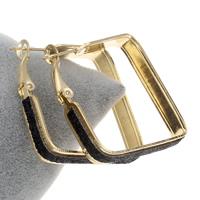 Eisen Kreolen, mit Glitter-Leder, Quadrat, goldfarben plattiert, frei von Blei & Kadmium, 43x45x6mm, verkauft von Paar